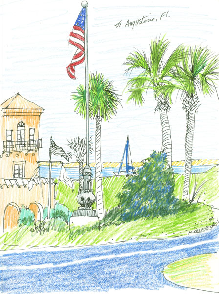 Flag & Palms near Bridge