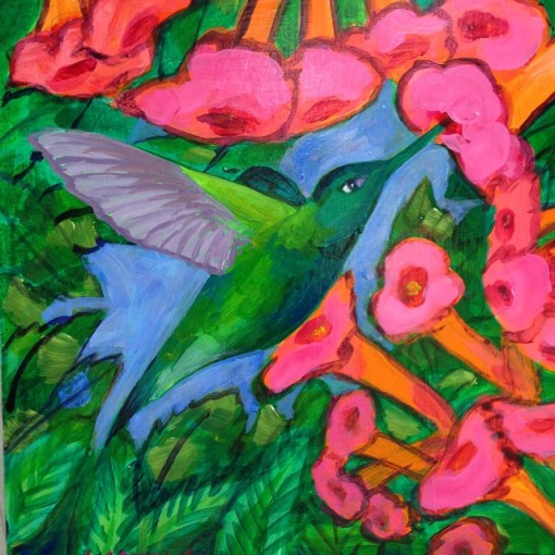 "Hummingbird with Trumpet Vine.  Acrylic painting on board, 12"" X12&flowerpaintings"