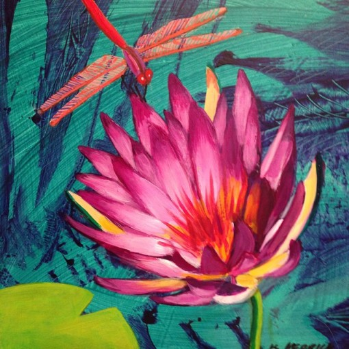 "Just finished this waterlily & dragonfly....12""x12"". Acrylic on board"
