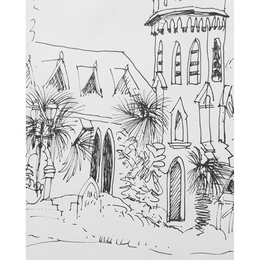 "Fast sketch of Episcopal church in Fernandina Beach while we sat outdoors at ""Tasty's"". Day 89"
