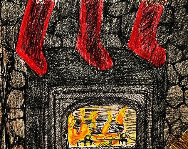 Fireplace at the log house in Copake, NY....so cozy...Happy 6th Day of Christmas .......Leap Year Day 366