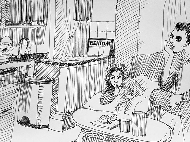 """Gabe & Elsa watching """"Monster Fish"""" on Netflix at Gabe's Manhattan apt.... Day 365... I don't know where I made the counting mistake...tomorrow should be the last day... I began on last New Year's Eve....Oh well...I intend to continue drawing daily...Happy Fifth Day of Christmas, everyone  Harlemapartment"""