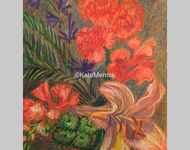 """Surprise Bouquet"", watercolor crayon, 8.5""X11""...... went to a church supper & came home with these flowers... Day 75"