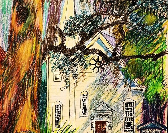 "KateMerrick/""First Missionary Baptist Church""  8.5x12""/ ink&wc.crayon .... Day84"