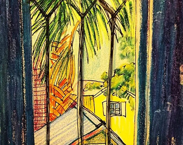"""KateMerrick/""""View from Lincolnville Window""""/5.5""""x8.5""""/ink&WCcrayon... Day 97"""