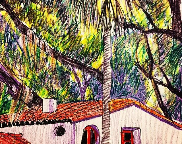 """KateMerrick/""""Palm tree, LiveOaks& Spanish house"""",8.5x11""""/ink&crayon...Day 108... I love this house... I've drawn it before from a different angle"""