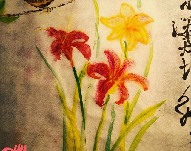 """House Wren & Daylilies""/Chinese ink on rice paper.... Day 156"