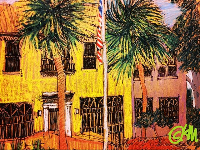 """Lincolnville Museum Cultural Center""/8.5x11""/ink&WCcrayon. Day 153... A very interesting place with a great deal of historical information on Lincolnville & St Augustine, esp on the civil rights period"