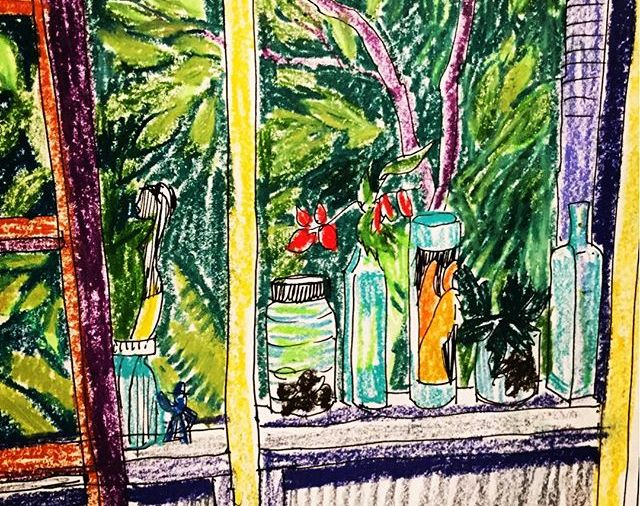 """View from my Screen Porch""/8.5x11""/wcCrayon... Day 171"