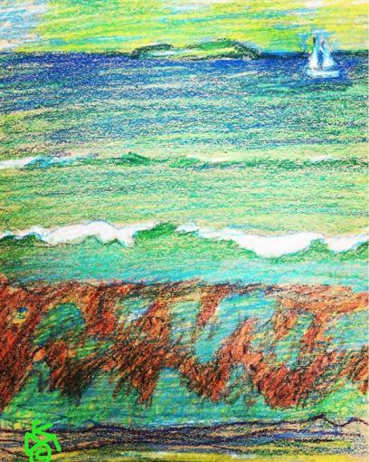 """""""Maine Coast Low Tide""""  Day 204 .... China markers & crayons"""
