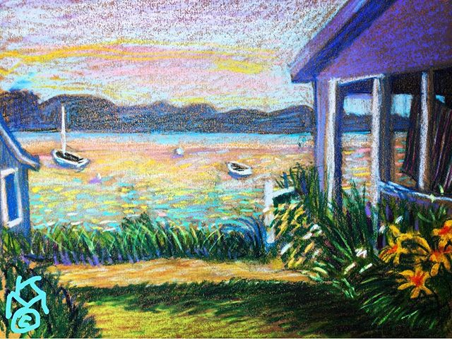 """Sunset in Yarmouth, Maine""...Day 210..... 8.5""X11""/WCcrayon"