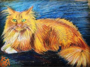 """Bowie the Cat""... lots of personality..Day 216... I do pet portraits, by the way... just contact me on here"