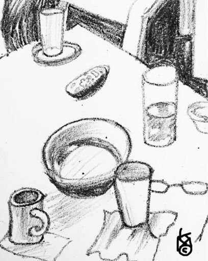 """""""Cylinders""""... the last of this series of quick b&w interior sketches.... Day241"""