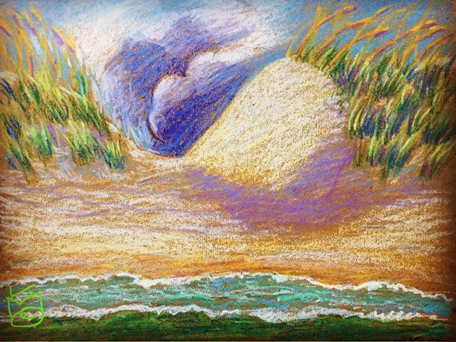 """""""Dunes & Clouds""""...crazy clouds yesterday at ... did this from memory since I was in the ocean..Day 269"""