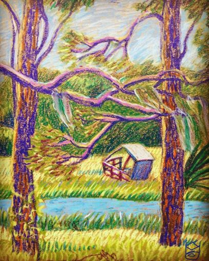 """""""A View from Shore Road"""" with a small building that suffered from Hurricane Irma ... Day 274/8.5x11""""/wcCrayon"""