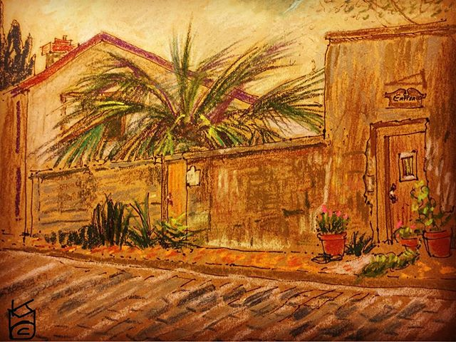 """""""Father Miguel O'Reilly House Museum"""" on Aviles St. in  Day 283 /8.5x11""""/ ink&pastel"""