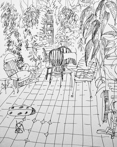 """""""Tranquilo""""....Day 285...Sunporch & Plants 8.5x11""""/ink on paper"""