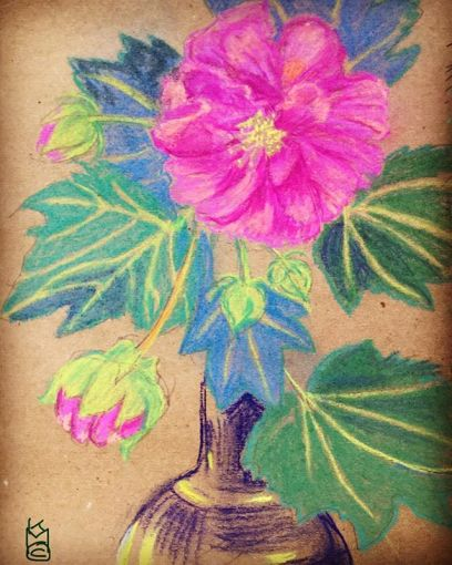 """""""Pink Beauty""""... I want to find out the name of this flower...Day 291... 8.5x11""""/Pastel"""