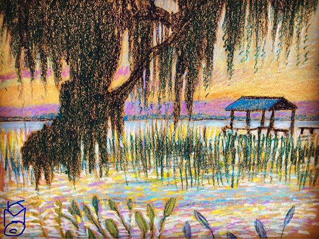"""""""Spanish Moss at Sunset"""" by the St. Johns River...Day 290  8.5x11""""/#watercolorcrayon"""