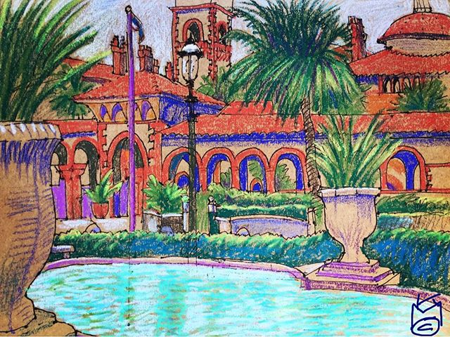 """""""Flagler College & Pool"""" from Lightner Museum Park... Day 293...8.5x11""""/ink&watercolorcrayon"""