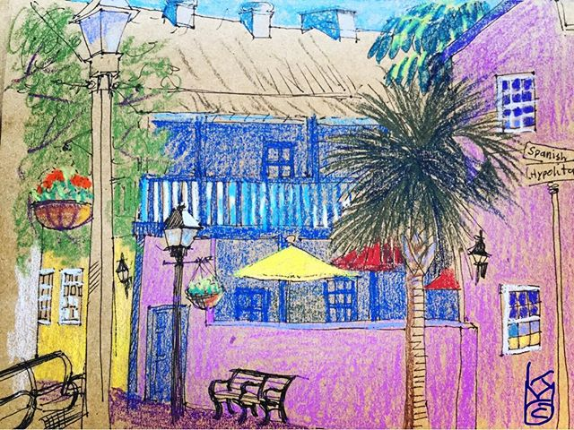 """""""Spanish & Hypolita St"""" in the historic district... Day 294... 8.5x11""""/ ink&#watercolorcrayon"""
