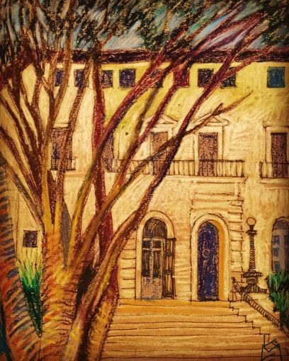 """Fernandina Post Office"", modeled, I'm told, on the Medici Palace in Italy... Day 324 /8.5x11""/ & ink"