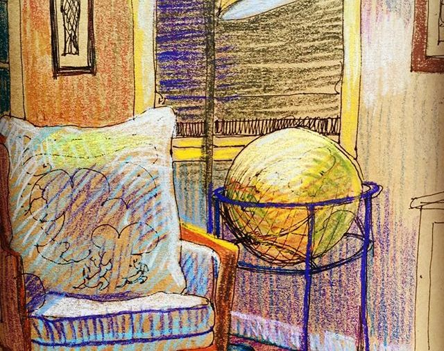 """""""Globe Love""""... this is an especially nice one.. Day 326  8.5""""x11""""/ink&"""