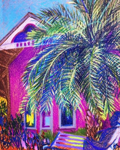 """Magnificent Palm"" in front of Railroad Museum in  Day 328  8.5""x11""/"