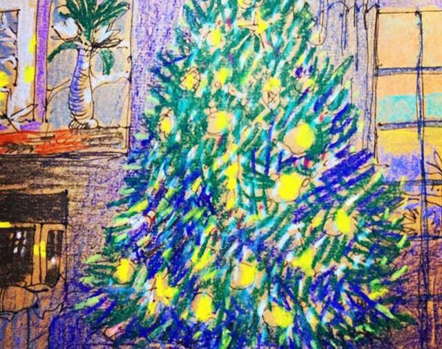 """Amy's Christmas Tree""  Lovely dinner party & fun....Day 355  8.5x11""/#watercolorcrayons"