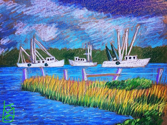 """Fishing Boats' Day Off""... in ...Day 341... 8.5x11""/#watercolorcrayon"