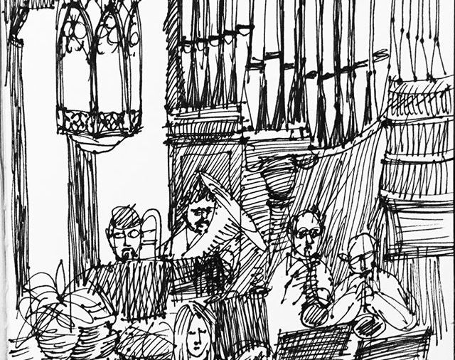 """Christmas Eve in Church"".... in the balcony singing carols with organ & brass even... Day 354.... # 365daycreativechallenge2017"