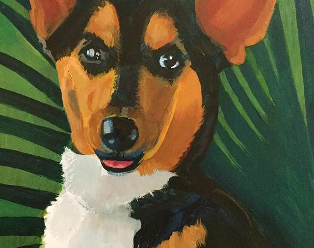 """Pet Portrait"".... I am offering these now...12""x16""/acrylic on board... from photos... starting at $75... He's a cute one, isn't he? Day 357"